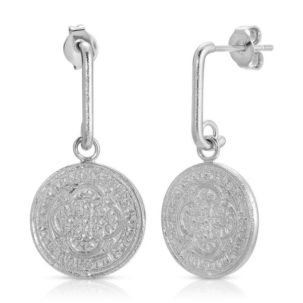 Dominique Coin Drop Earring in Silver