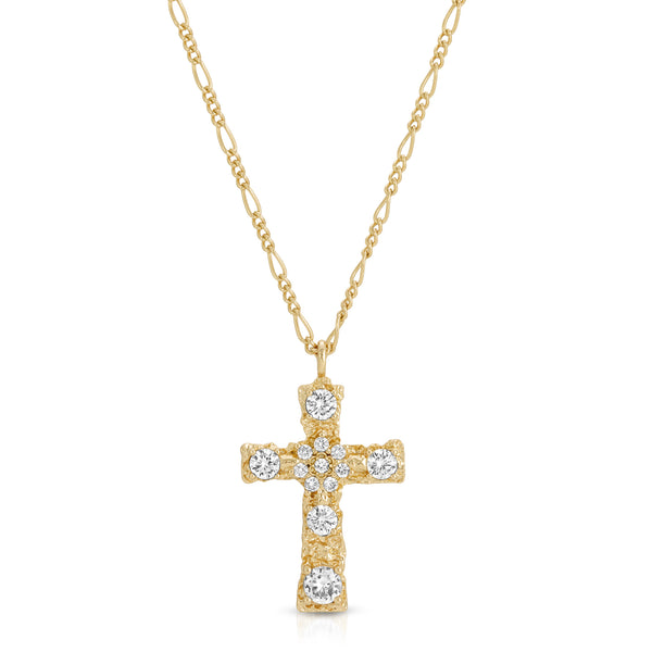 Luxe Antiquity Cross Necklace in Clear