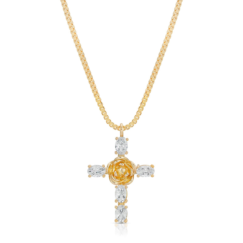 Rosa Cross Pendant in Clear