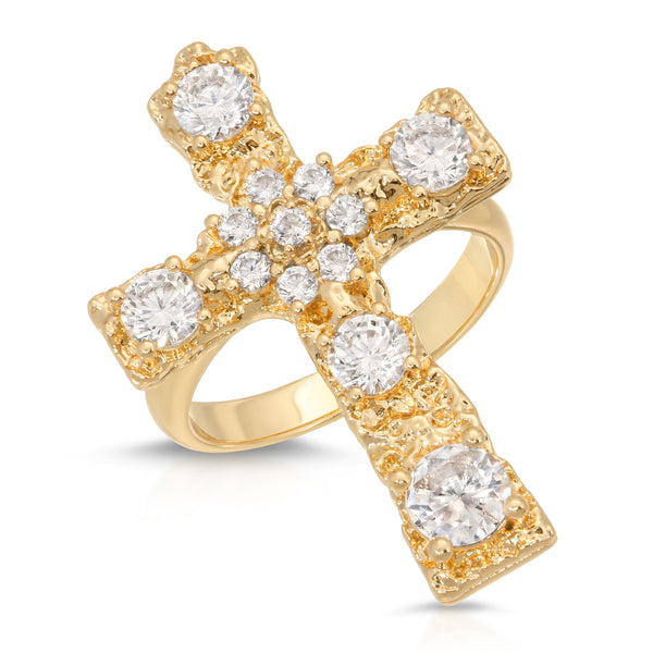 Luxe Antiquity Cross Ring in Clear