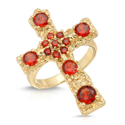 Luxe Antiquity Cross Ring in Ruby