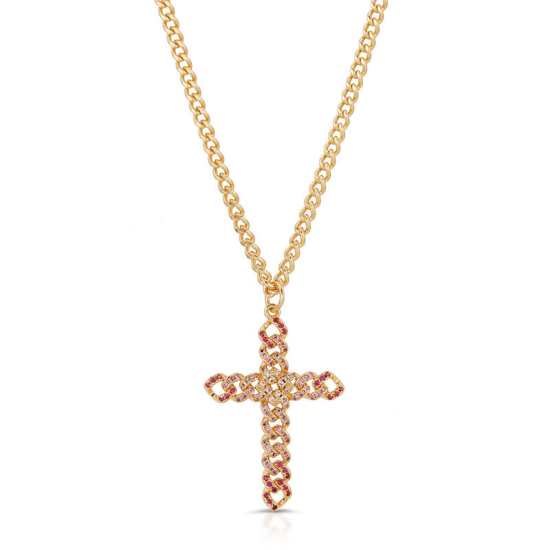 Utopia Cross Necklace in Ombre Pink