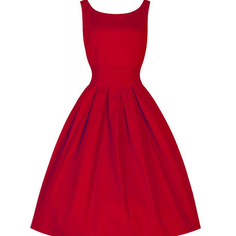 Solid Retro Women O-Neck Dress Dresses - All In One Place With Us - 5
