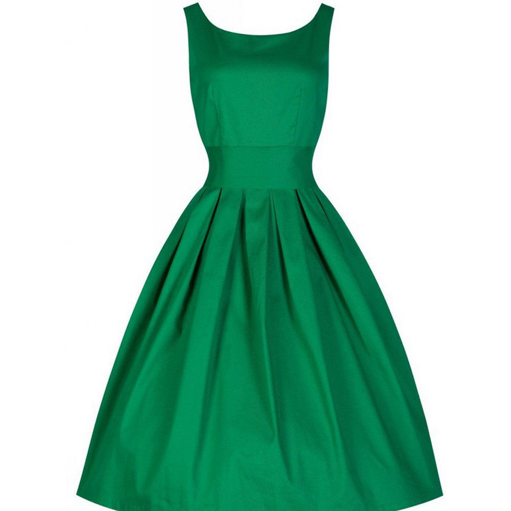 Solid Retro Women O-Neck Dress Dresses - All In One Place With Us - 4