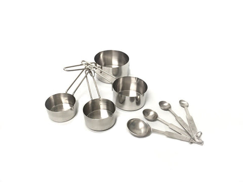 8-Piece Deluxe Stainless Steel Measuring Cup and Measuring Spoon Set - All In One Place With Us