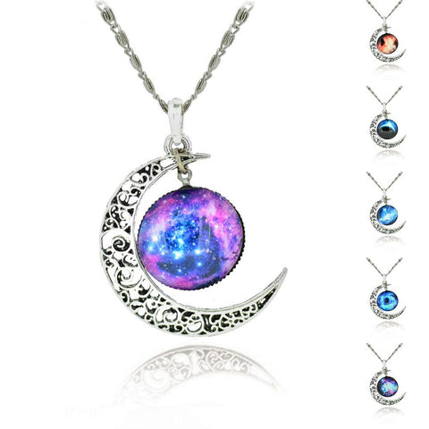 Galaxy Lovely Moon Galaxy Chain Necklace - All In One Place With Us - 1