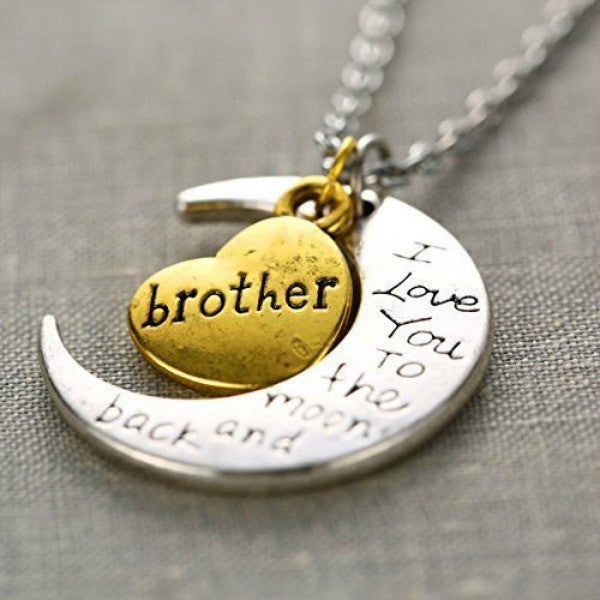 I Love You Mother Mom, Aunt, Father, Daughter, Sister & Brother Gift Engraved Letter Pendant - All In One Place With Us - 3