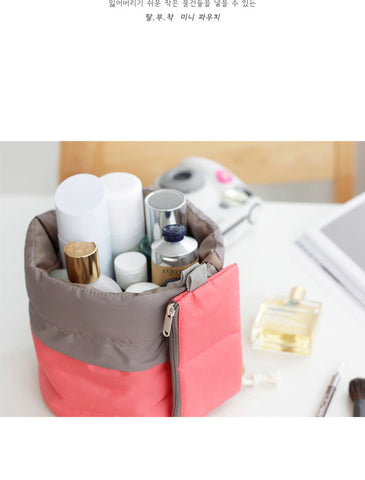 New Arrival Barrel Shaped Travel Cosmetic Bag Nylon High Capacity Drawstring Elegant Drum Wash Bags Makeup Organizer Storage Bag - All In One Place With Us - 2