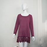 Purple Lace Long Sleeve Dress Sexy - All In One Place With Us - 3