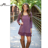 Purple Lace Long Sleeve Dress Sexy - All In One Place With Us - 2