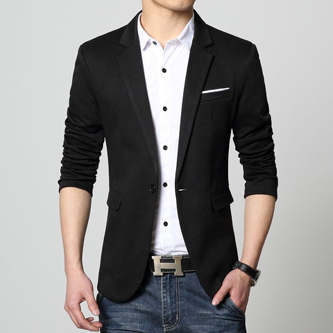 Mens American slim fit fashion cotton blazer Suit Jacket black blue beige plus size M to 5XL Male blazers Mens coat Wedding dress - All In One Place With Us - 2