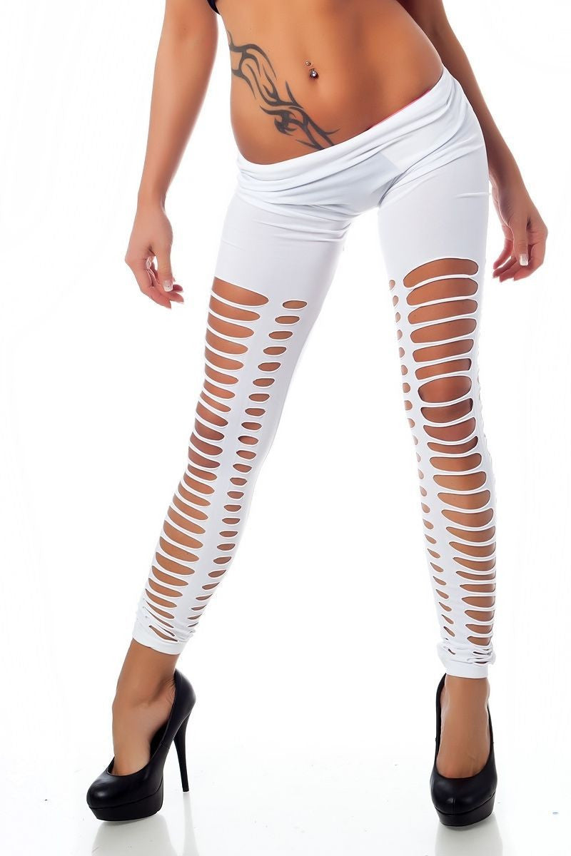 White Sexy Front&Back Neat Ripped  With Small Round Holes In Medial Thigh Leggings - All In One Place With Us - 2