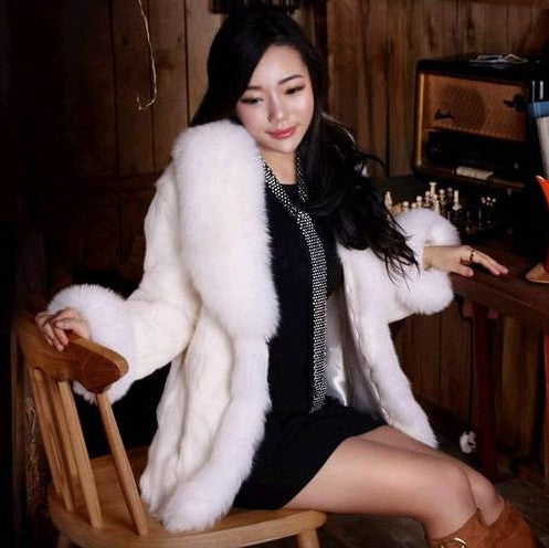 Women Luxury Fox Rabbit Faux Fur Coat - All In One Place With Us