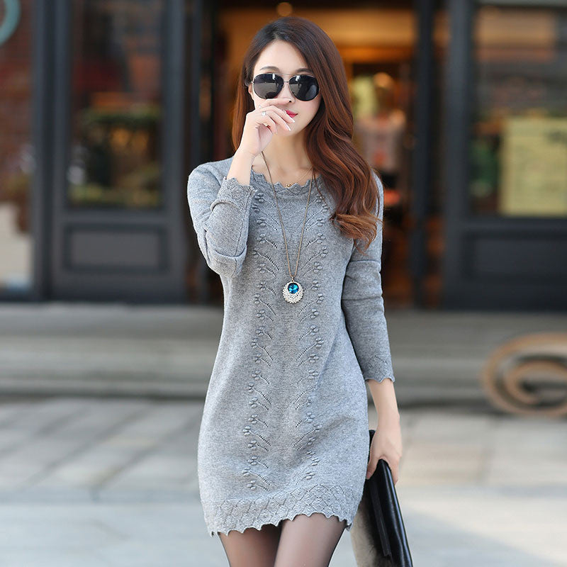 Women Cute Warm Long Knitted Sweater Dress - All In One Place With Us - 1