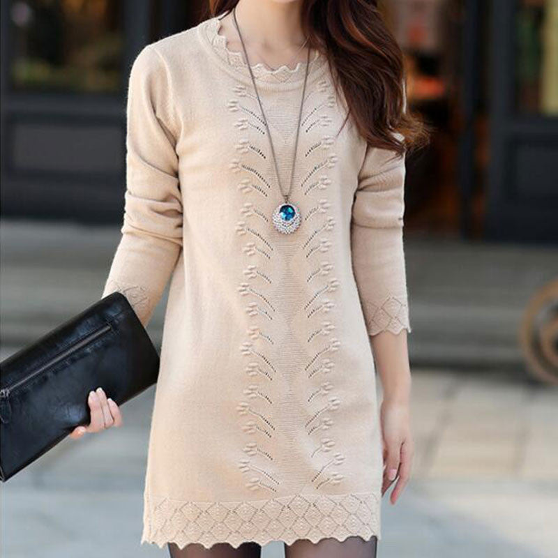 Women Cute Warm Long Knitted Sweater Dress - All In One Place With Us - 6