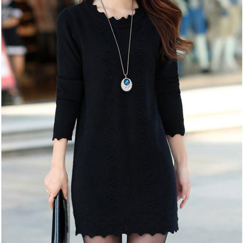 Women Cute Warm Long Knitted Sweater Dress - All In One Place With Us - 4