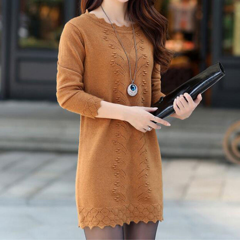 Women Cute Warm Long Knitted Sweater Dress - All In One Place With Us - 5