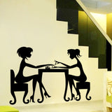 Pretty Girls Friendship Getting Manicure Home Wall Sticker - All In One Place With Us - 1