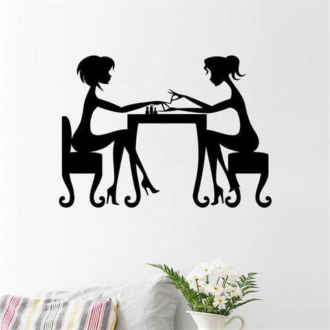 Pretty Girls Friendship Getting Manicure Home Wall Sticker - All In One Place With Us - 2
