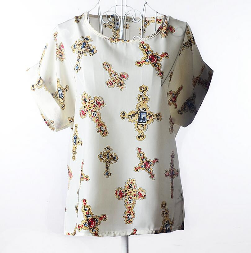 (ON SALE) Women  Blouse Bird Bat Shirt Short-Sleeved Shiffon 50% OFF PLUS FREE SHIPPING - All In One Place With Us - 3