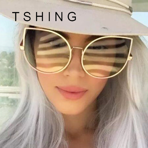 TSHING Oversized Clear Ocean Cat Eye Sunglasses