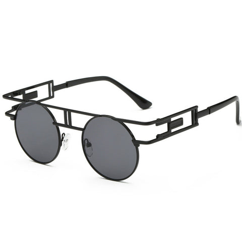 Metal Frame Gothic Steampunk Flat Top Round Sunglasses