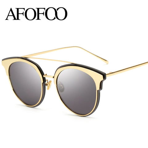 AFOFOO Luxury Brand Designer Metal Frame Mirror Sunglasses