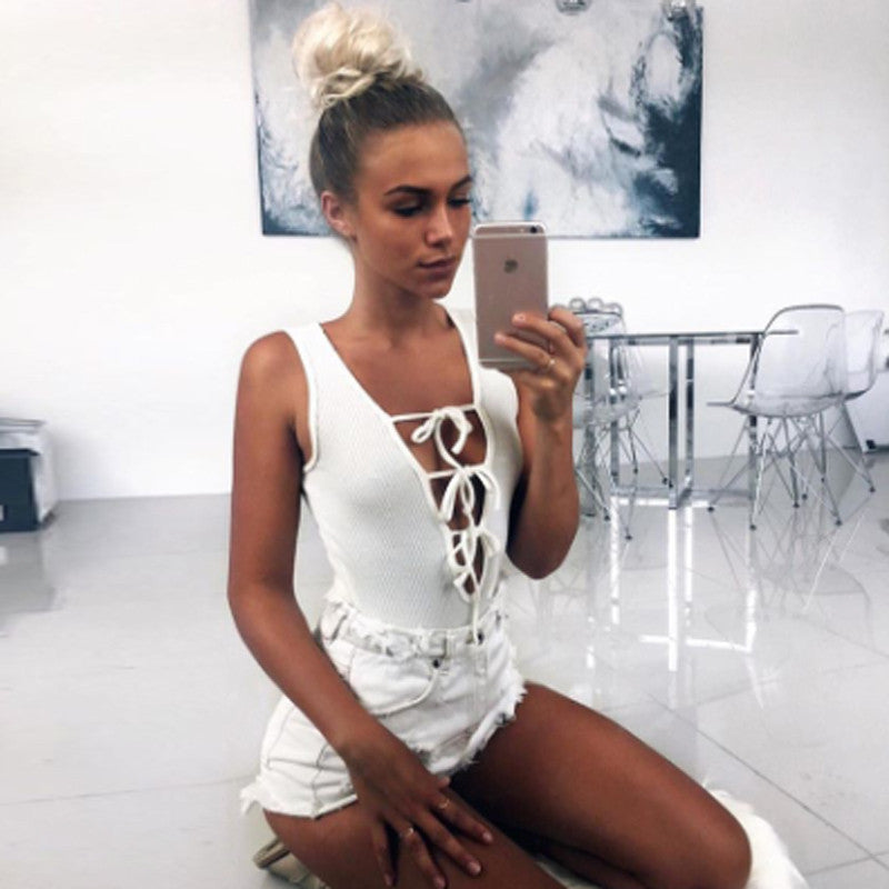 Deep V-Neck Lace Up Sexy Jumpsuit