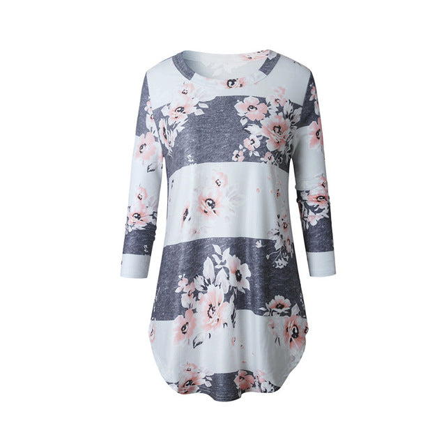 Fashion Casual Long Sleeve Printed Floral T Shirt