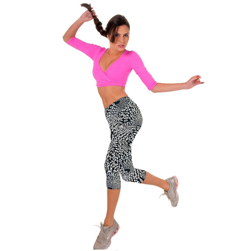 Fitness Mid Calf Elastic Pants Gym Running Leggins - Get Sexy!!- Various Colors - All In One Place With Us - 2