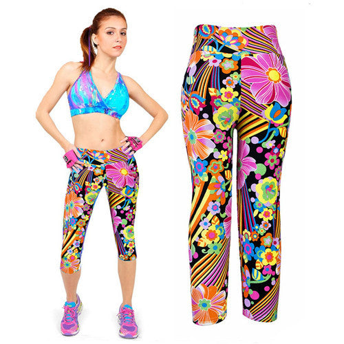 Fitness Mid Calf Elastic Pants Gym Running Leggins - Get Sexy!!- Various Colors - All In One Place With Us - 3