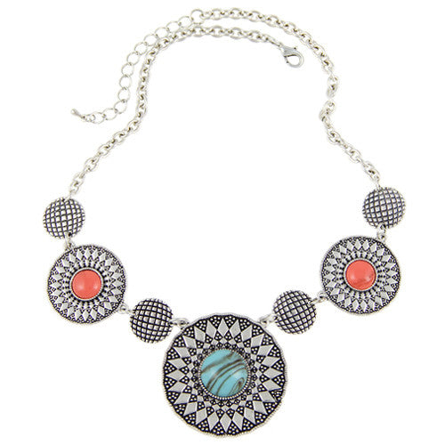 Fashion Women Necklace Silver Plated Natural Stone - All In One Place With Us