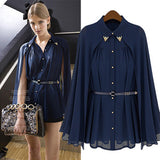 Women Chiffon Elegant Navy Blouse - All In One Place With Us - 1