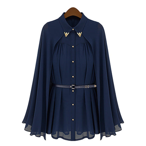 Women Chiffon Elegant Navy Blouse - All In One Place With Us - 3