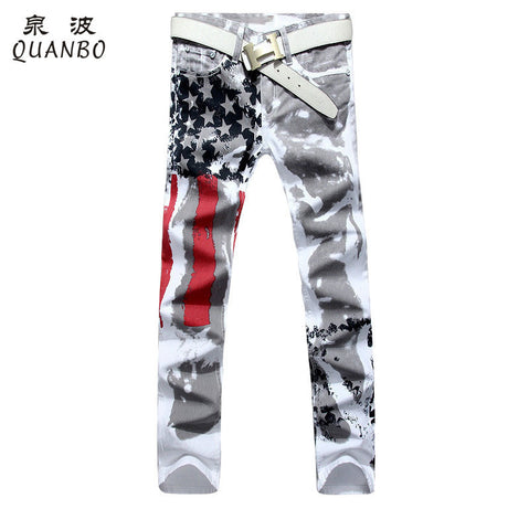 Brand Men Fashion Slim American Flag Jeans - All In One Place With Us - 1