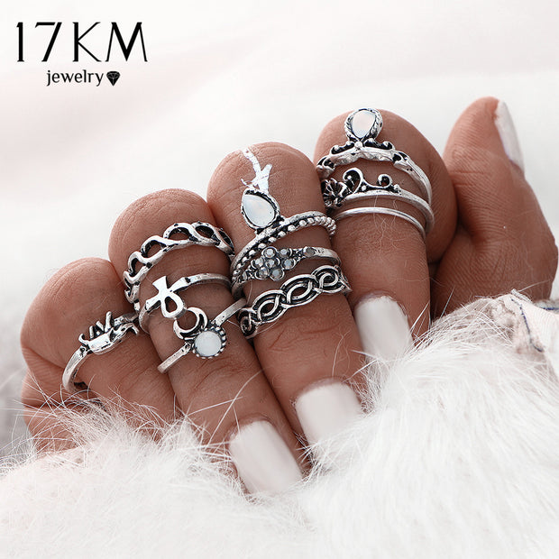 17KM 10pcs/Set Gold Color Flower Midi Ring Sets for Women
