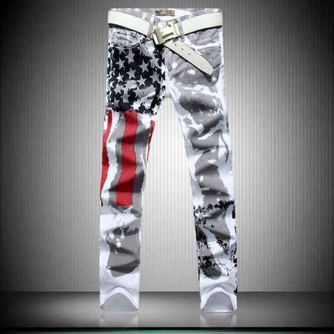 Brand Men Fashion Slim American Flag Jeans - All In One Place With Us - 2