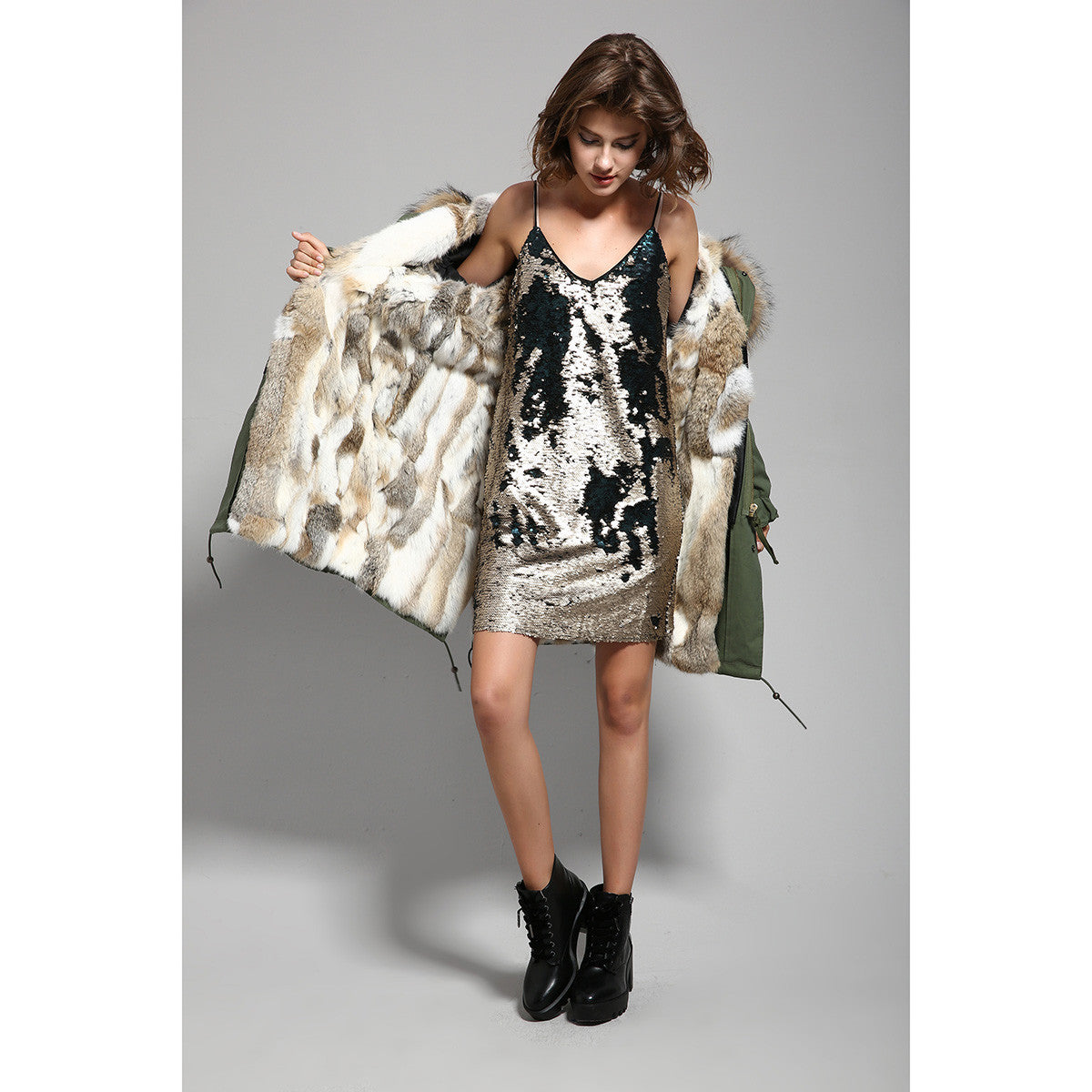 Fashion Women Raccoon Rabbit Fur Coat - All In One Place With Us - 14
