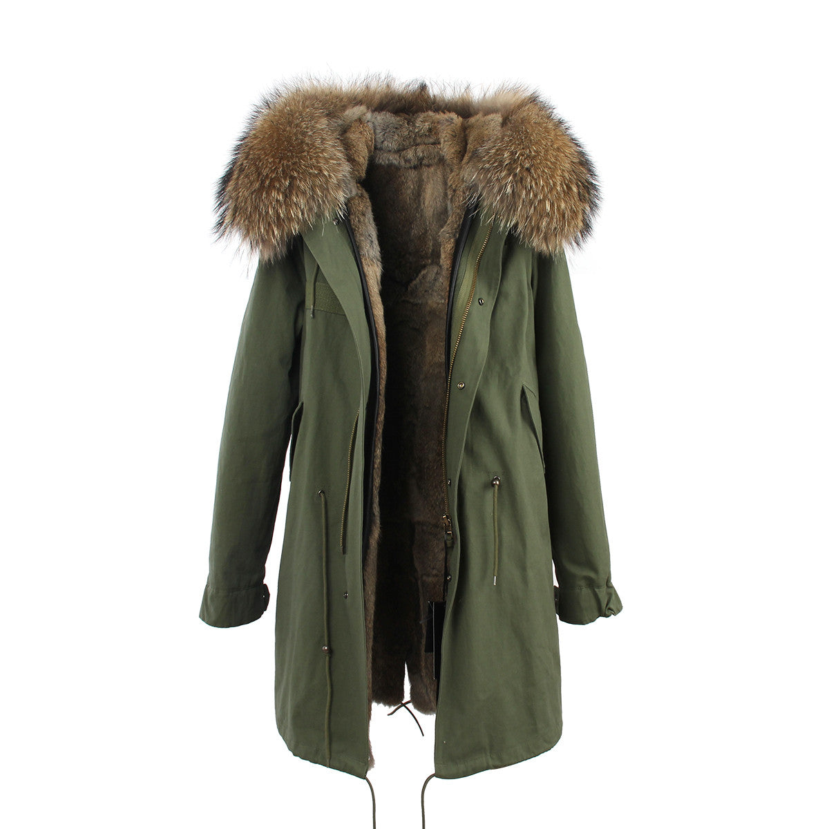 Fashion Women Raccoon Rabbit Fur Coat - All In One Place With Us - 20