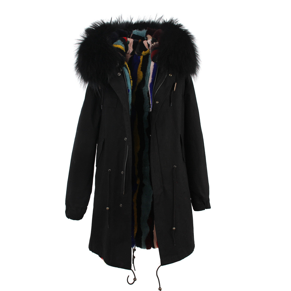 Fashion Women Raccoon Rabbit Fur Coat - All In One Place With Us - 6