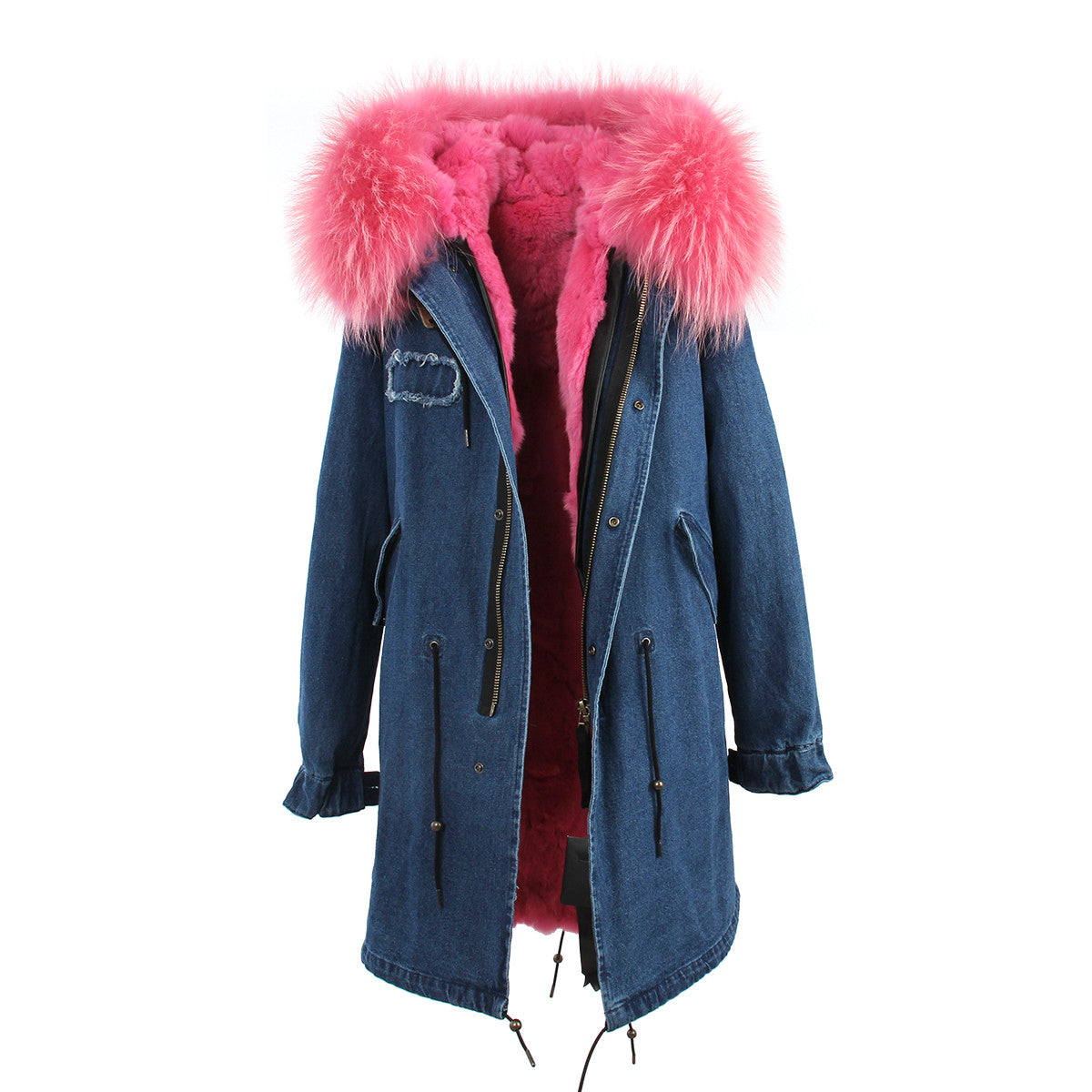 Fashion Women Raccoon Rabbit Fur Coat - All In One Place With Us - 9