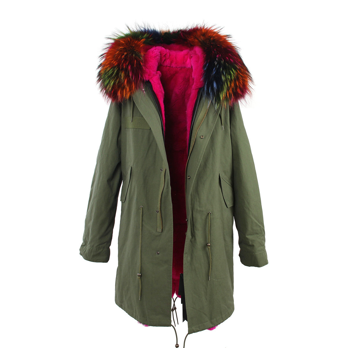 Fashion Women Raccoon Rabbit Fur Coat - All In One Place With Us - 15
