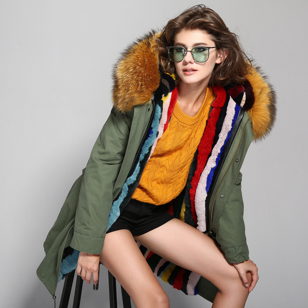 Fashion Women Raccoon Rabbit Fur Coat - All In One Place With Us - 7
