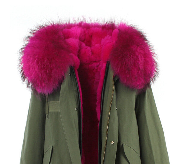 Fashion Women Raccoon Rabbit Fur Coat - All In One Place With Us - 16