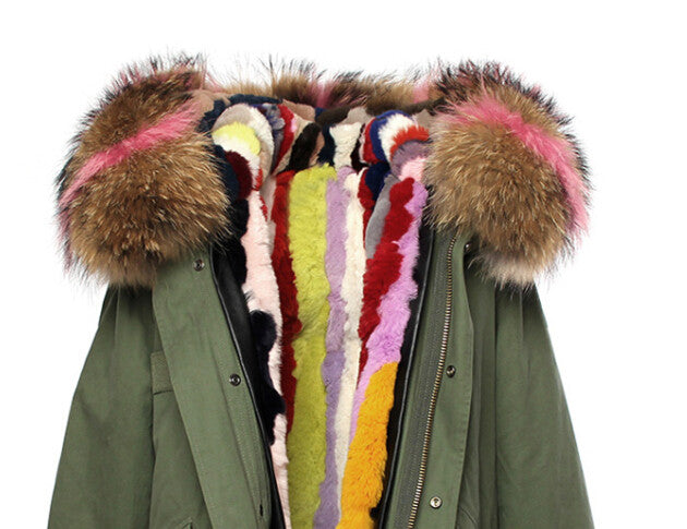 Fashion Women Raccoon Rabbit Fur Coat - All In One Place With Us - 3