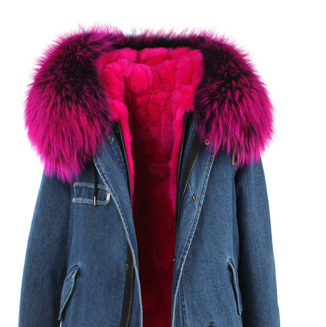 Fashion Women Raccoon Rabbit Fur Coat - All In One Place With Us - 12