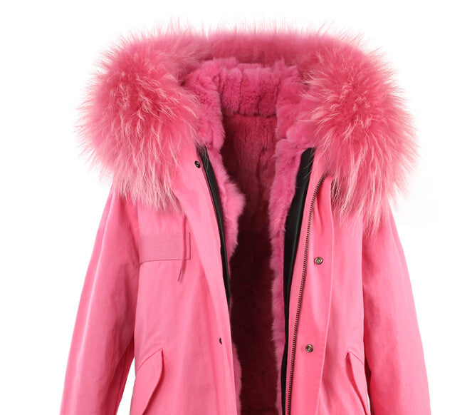 Fashion Women Raccoon Rabbit Fur Coat - All In One Place With Us - 19