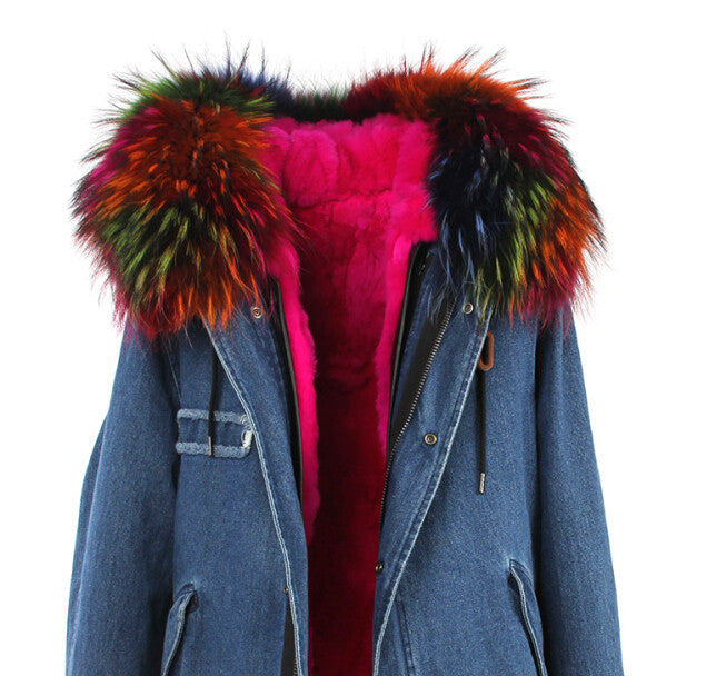 Fashion Women Raccoon Rabbit Fur Coat - All In One Place With Us - 8