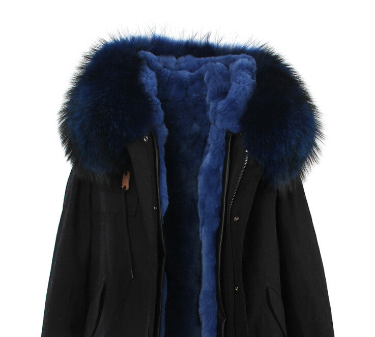 Fashion Women Raccoon Rabbit Fur Coat - All In One Place With Us - 10