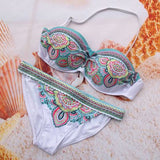 Women Lady Sexy Crystal Padded Top Set Strapless Bikini Swimwear - All In One Place With Us - 2